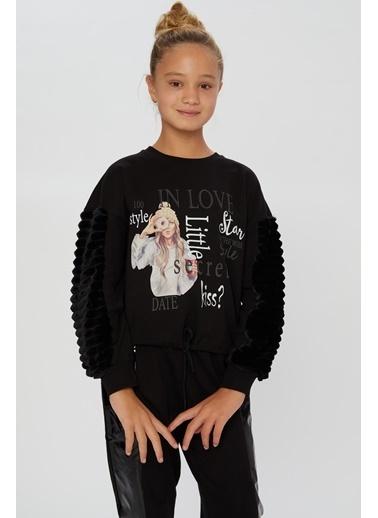 Little Star Little Star Kız Çocuk Eteği Kordonlu Sweatshirt Siyah